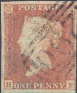 1852 1d Red SG8 Plate 162 'HF'
